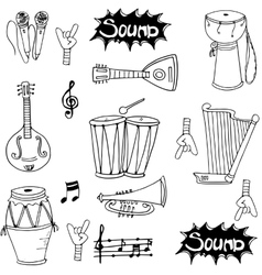 Music tool doodles vector