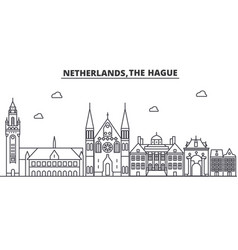 Netherlands hague architecture line skyline vector