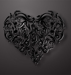 ornamental flowers heart vector image