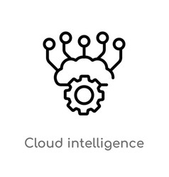 Outline cloud intelligence icon isolated black vector