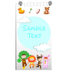 Paper template with cute kids in costumes vector