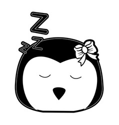 Penguin sleeping cute animal cartoon icon image vector