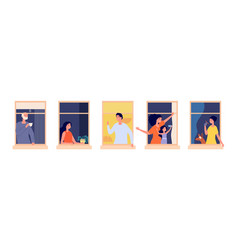 People in windows home time family together vector