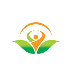 People organic botany vegetarian logo vector