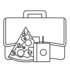 pizza lunch bag icon outline style vector image