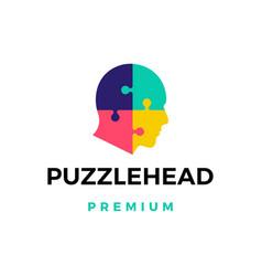 puzzle head logo icon vector image