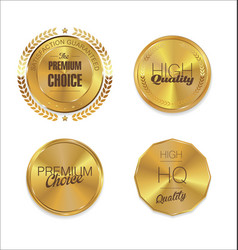 Quality golden badges 3 vector