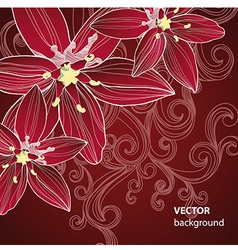 Red floral background vector