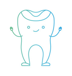 Restored tooth cartoon in degraded green to blue vector