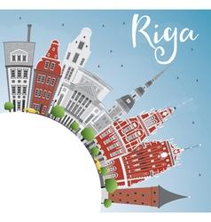 Riga Skyline with Landmarks Blue Sky vector