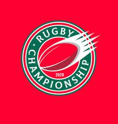 rugtournament logo ball championship emblem vector image