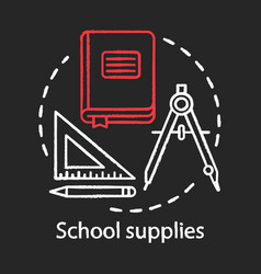 school supplies student tools chalk concept icon vector image