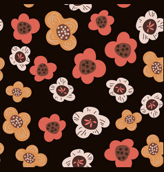 seamless pattern with flowers on dark background vector image