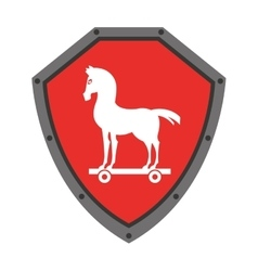 Security shield with trojan horse isolated icon vector