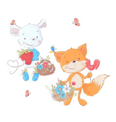set cartoons cute animals mouse and fox vector image