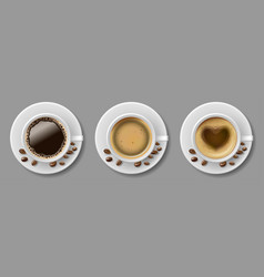 set coffee mug top view with coffee beans vector image