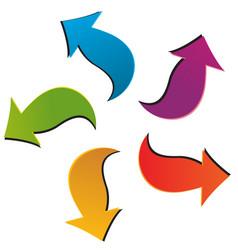 set five colorful arrows vector image