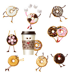set icons cartoon characters donuts vector image