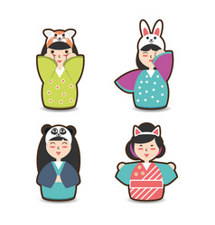 Set japanese woman with costume hat design vector