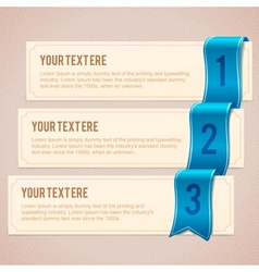 Set of 3 option banners with blue ribbon vector image vector image