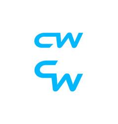 set of cw letter logo design template element vector image