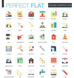 set of flat building construction icons vector image
