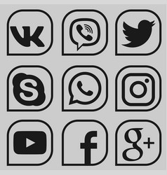 set social media icons vector image