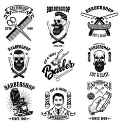 set vintage barber shop emblems badges and vector image