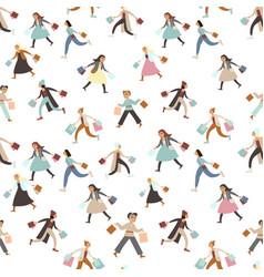 shopping girls seamless pattern vector image