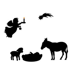 Silhouette angel babe lamb donkey and christmas vector