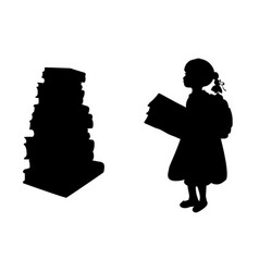 Silhouette of girl reading books vector