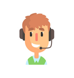 smiling male call center worker online customer vector image