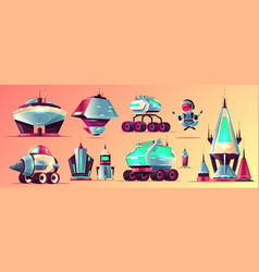 Space stations and vehicles cartoon set vector