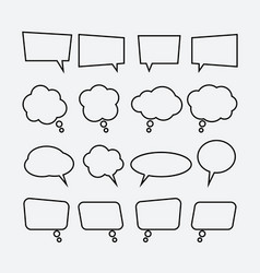 speech bubble linear icons set vector image