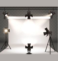 Spotlights realistic with warm light vector