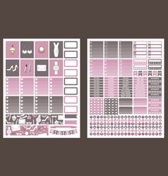 Stickers for planner grey and pink colors vector