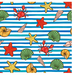 summer seamless pattern seashell on horizontal vector image