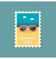 Sunglasses flat stamp summertime vector