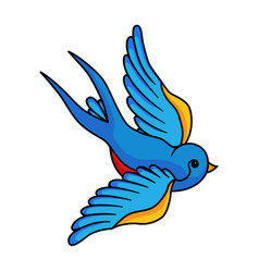 swallow small blue bird icon beautiful nature vector image