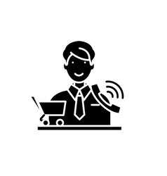 Telemarketing black icon sign on isolated vector