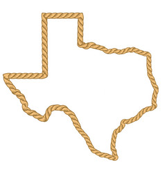 Texas map with lasso rope frame isolated on white vector