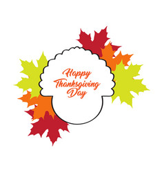 thanksgiving day label with a turkey outline vector image