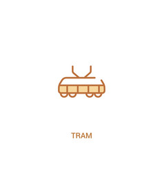 Tram concept 2 colored icon simple line element vector