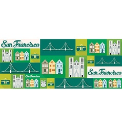 Travel and tourism icons san francisco vector