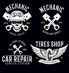 Vintage car service badges templates emblems and vector
