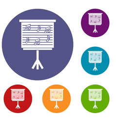 Whiteboard with music notes icons set vector