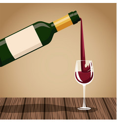 wine bottle and cup on wooden table vector image