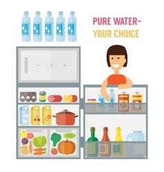 Woman near refrigerator Flat design vector