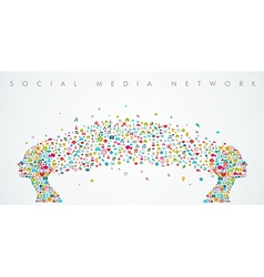Women heads shape social media network composition vector image