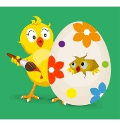 Yellow chicken colors easter egg vector